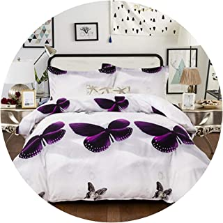 Bedspreads 3D Purple Butterfly Quilt Cover Duvet Covers Animal Soft Doona Cover Pillow Cases Au Queen King UK Double Size Bedding Set 3Pcs,Color, to The King