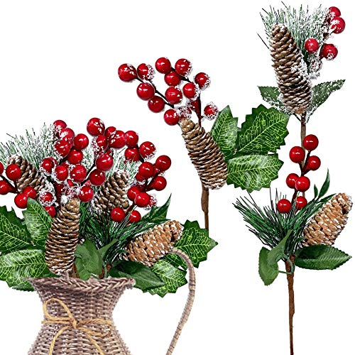 BANBERRY DESIGNS Red Berries Picks 9 Pieces–Assorted Snow Flocked Red Holly Berry Pine Cone Holiday Floral Sprays Decoration Flexible Stems for Christmas Crafts Party Festive Home Décor