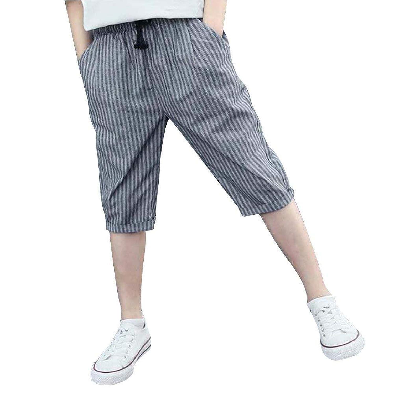 ショートパンツ 男の子 ズボン ジュニア ハーフパンツ ウェストゴム 半パン キッズ 夏秋 5分丈 ストライプ柄 短パンツ