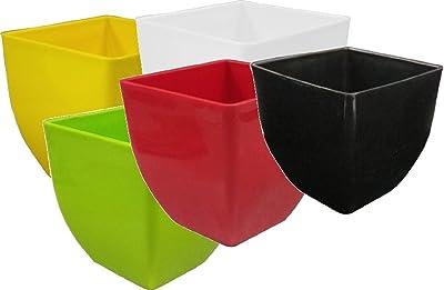 Khoji Pearl Square Flower Pots - A Set Of 5 Multicolored Pots