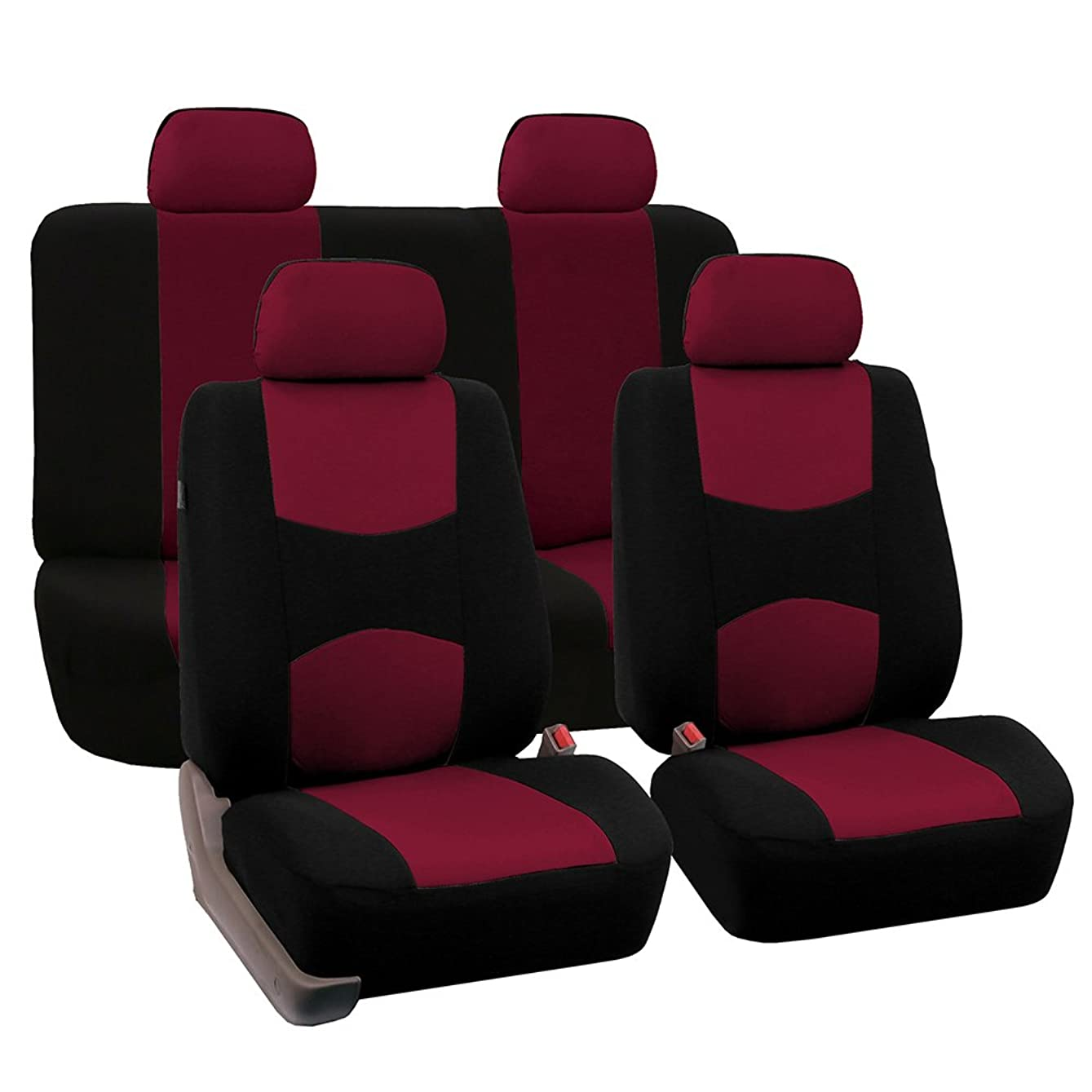 FH Group Universal Fit Full Set Flat Cloth Fabric Car Seat Cover, (Burgundy/Black) (FH-FB050114, Fit Most Car, Truck, Suv, or Van) drosbj085720