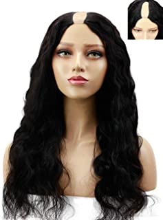 FUNTRESS Body Wave Human Hair U Part Wigs 1x4 Lace on Top Brazilian Virgin Hair 130 180 Density UPart Wigs With 3 Combs and Clips (18 Inch, 180 Density)