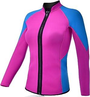 REALON Wetsuits Top Jacket Vest Mens Women 2mm Neoprene Long Sleeve/3mm Sleeveless Shirt Front Zip Sports XSPAN for Scuba ...