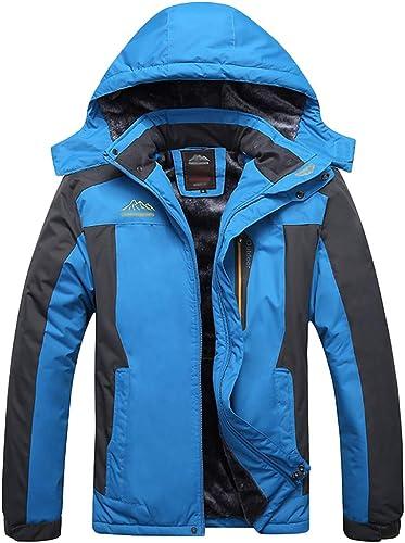 NDHSH Manteau de Camping en Plein air pour Homme Veste Coupe-Vent en Montagne pour Homme Veste de randonnée Chaude Veste à Capuche avec Plusieurs Poches,bleu-5XL