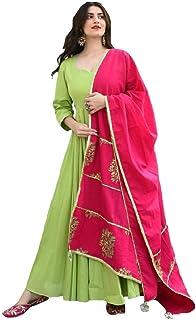 Monika Silk Mill Women's Green Cotton Silk Semi Stitched Long Anarkali Gown with Printed Dupatta