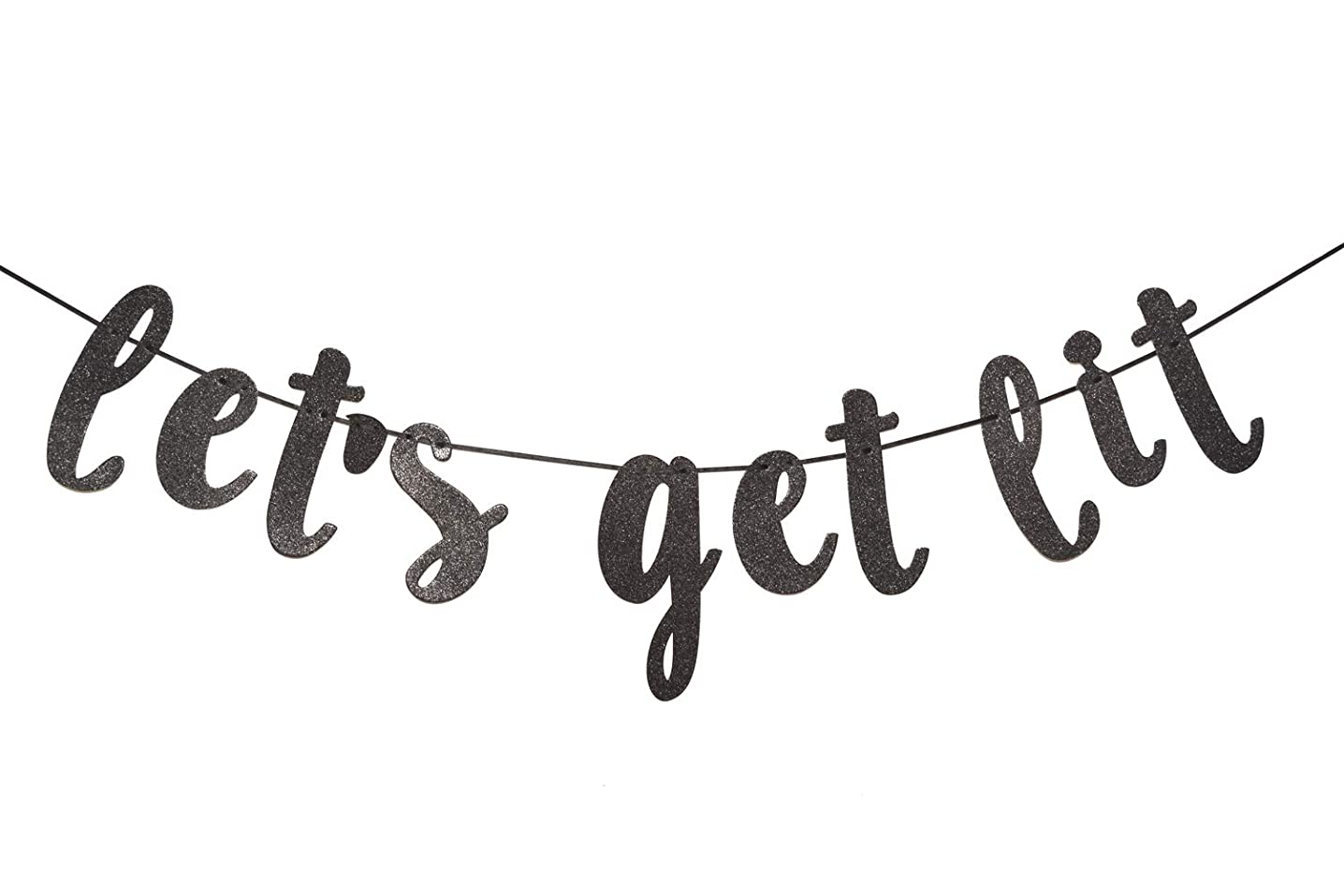 Let's Get Lit Glitter Black Banner Garland Sign, Bachelorette Party, Bridal Shower, Christmas, New Years Eve, Birthday, Wedding Decorations (Black)