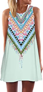 2017 Summer Vintage Boho Women Summer Sleeveless Beach Printed Short Mini Dress