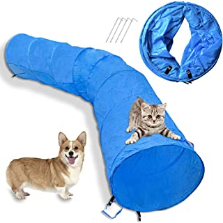 Cossy Home Collapsible Dog Tunnel Tube Kitty Tunnel Pet Toys Peek Hole for Cats, Puppy, Dogs, Kittens, Rabbits (3 Size)