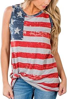 74bc796e103 TOTOD Fashion Women American Flag Print Lace Insert V-Neck Tank Tops Lace Shirt  Blouse