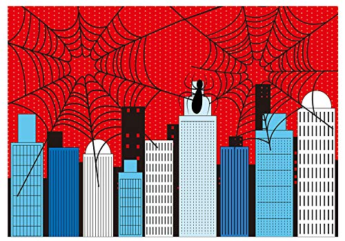 Funnytree 7x5ft Superhero Theme Party Backdrop Cartoon City Spider Web Boy Baby Shower Birthday Photography Background Super Hero Cityscape Buildings Banner Cake Table Decoration Photo Booth Props