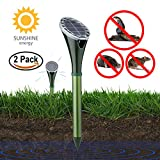 KINGMAZI Solar Powered Snake Repellent for Outdoor, Electronic Snake Repellent, Get Rid of Snake Mole Gophers for Outdoor Garden Yard 2 Pack