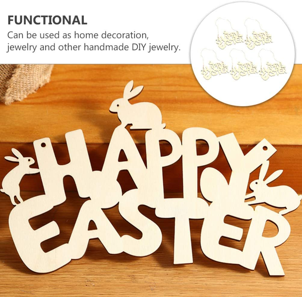 VALICLUD 3PCS Happy Easter Plaque Sign Wooden Hanging Decoration Hollow Letter Decorative Display Sign for Easter Tree Decor