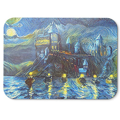 Westlake Art Starry Night Castle Night Boats Non-Slip Rubber Abstract Artwork Home Office Computer Laptop PC Mac Mouse Pad - 8x9 Inch