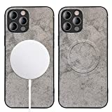 WENSUNNIE Slim MagSafe Case Compatible with iPhone 12 Pro Max (6.7') [Cotton Series] Built in Magnets for MagSafe Charger Magnetic Wireless Charging, Camera Lens and Drop Protection Case (Grey)