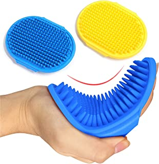 Kwispel 2 عدد برس تمیز کردن سگ ، برس شامپوی حیوان خانگی حمام برس سگ شانه لاستیک ماساژ آرامبخش شانه لاستیکی با بند قابل تنظیم برای سگها و گربه های کوتاه بلند