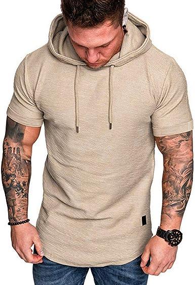 Camisa de Manga Corta con Capucha para Hombre Chaleco Casual ...