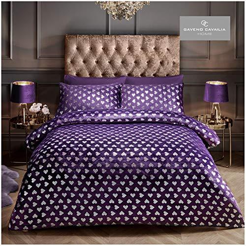 Gaveno Cavailia Premium Teddy Heart Foil Fleece Duvet Cover with Pillowcases, Easy Care Fluffy Quilt Bed Set, Purple, Kingsize Bedding