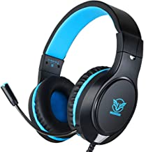 Gaming Headset for PS4, Xbox One, Nintendo Switch, Adjustable Earmuffs and Over-All Noise Isolation, Lightweight 3.5mm Wired Volume Control with Mic for Laptop PC (Blue)