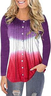 Shusuen Womens Tops Summer Cowl Neck T-Shirts Blouses Button Down Tunic Casual Loose Long/Short Sleeve Henley Shirts