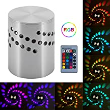 Xuuyuu Spiral LED Wall Light,Colorful RGB Spiral Hole Wall Lamp 3W LED Wall Lamp Aluminum Indoor Lighting for Bar KTV Decor Light with Remote Control