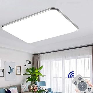 72W Plafon led de techo Regulable 5760LM Plafon LED Techo Cuadrad Iluminación interior para Dormitorio Comedor Cocina Balcón Marco de Aluminio Plateado