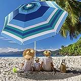 Beach Umbrella, 6.5ft Beach Umbrella with Sand Anchor & Tilt Mechanism, Portable UV 50+ Protection Beach Umbrella for Patio Garden Beach Outdoor,Sunshade Umbrella with Carry Bag (Wide blue strip)
