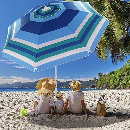 Beach Umbrella, 6.5ft Beach Umbrella with Sand Anchor & Tilt Mechanism, Portable UV 50+ Protection Beach Umbrella for Patio Garden Beach Outdoor,Sunshade Umbrella with Carry Bag (Wide blue strip)