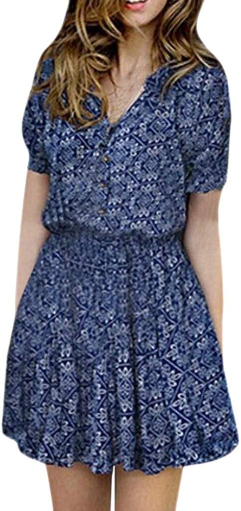 Women's OFFicial shop Dresses Summer Popular standard Wrap Short Bohemian Floral Printed