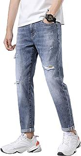 Jeans voor heren Vintage halfhoge taille met gescheurde gaatjes Jeans Denim, Trend All-match Wash Work gerafelde broek Bas...
