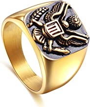 JAJAFOOK 316L Stainless Steel Vintage US Army Military Badge Eagle Ring for Men's,Gold and Silver