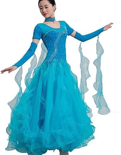 Manche Courte Robe de Danse Moderne pour Femme Exécution Compétition Tenue de Danse de Salon