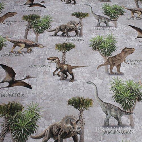 Stoff Baumwolle Rips Dinosaurier Brachiosaurus Euplocephalus Raptor T-Rex