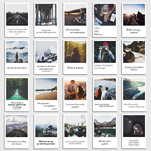 INDIVIDUAL NOMAD® Postkarten 20er Set Travel | Sprüche und Zitate die Lust aufs Reisen macht | Im Retro-Polaroid Style