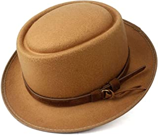 2019 Mens Womens Hats Men Women Unisex Flat Top Hat Fedora Hat for Gentleman Pork Pie Hat with Belt Fedora Hat for Gentleman Wool Flat Hat Trilby Church Fascinator Hat (Color : Khaki, Size : 58)