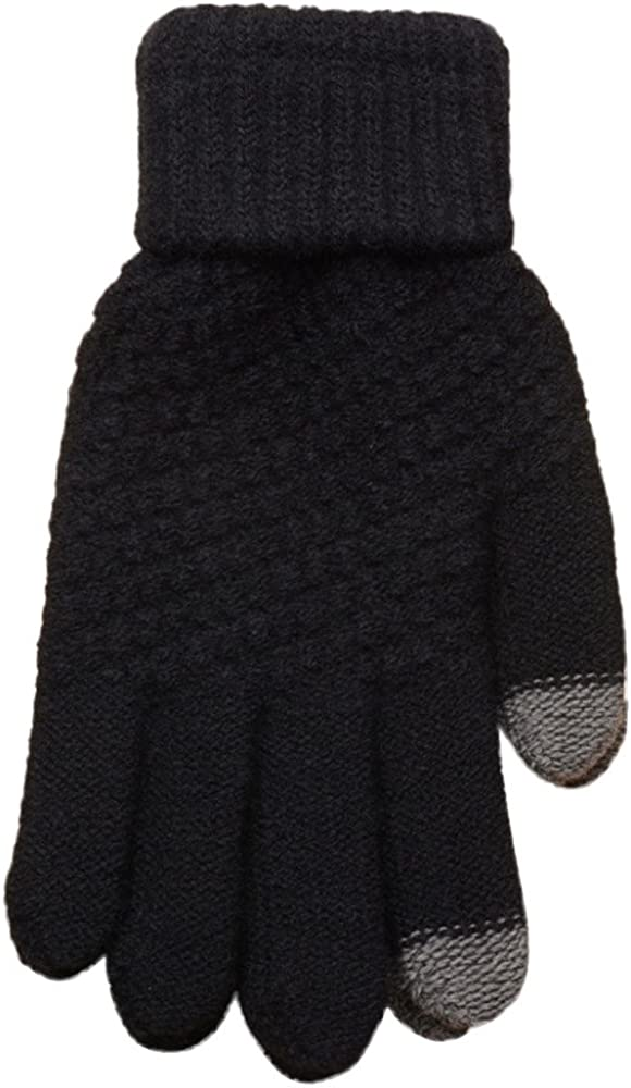 GREFER Mens Woolen Knited Gloves Warm Cold Weather Mittens for Outdoor Sports Ski Riding