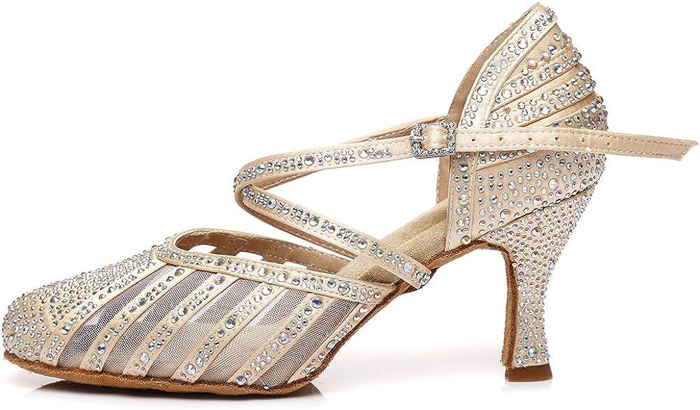 AOQUNFS Rhinestone Ballroom Dance Shoes Womens Closed Toe Latin Dance Shoes Salsa Tango Practice Performance Dance Shoes,Model YCL-403