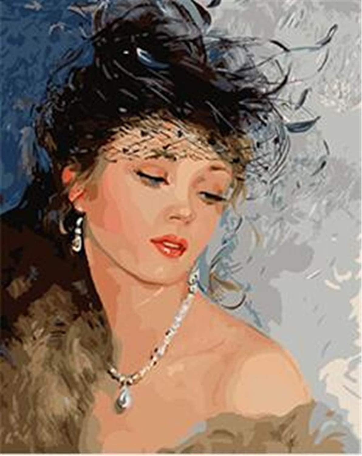 DIY Oil Paint by Number Kit for Adults Beginner 16x20 Inch - Attractive Lady,Drawing with Brushes Living Room Decor Decorations Gifts (Framed)