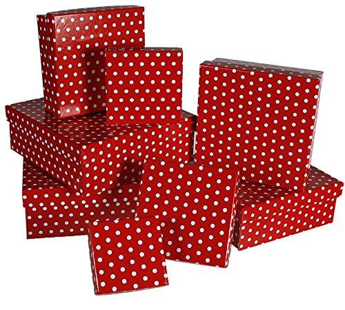 MIK funshopping Geschenkschachtel Set RED DOTS - 8 Schachteln