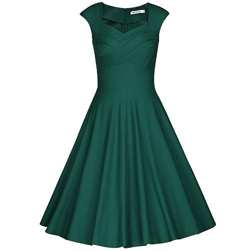 3b73f6d940ee MUXXN Women's 1950s Retro Vintage Cap Sleeve Party Swing Dress