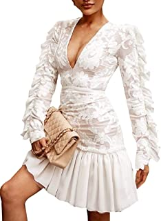 Fashion Women's Long Sleeve Plunging V Neck Lace Ruffle Mesh Cocktail Short Dress