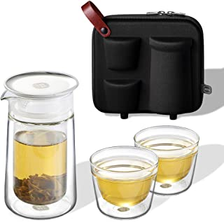 ZENS Travel Tea Set,Glass Portable Teapot Infuser Set for Loose Tea,160ml Double Wall Tea Pot and 2 Teacup with Eva Case for Travel Picnic or Gift,Black
