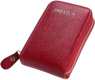 Men's Wallet Leather Credit Card Holder RFID Blocking Zipper Thin Pocket