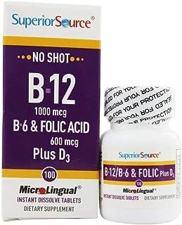 Superior Source No Shot Vitamin B12 Cyanocobalamin - B6 - Folic Acid - Vitamin D Instant Dissolve Tablets - Cyanocobalamin...