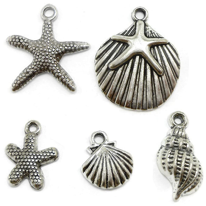 CrazyPiercing 30 Starfish, Seashell Charms Lot silver tone (30 PCS)