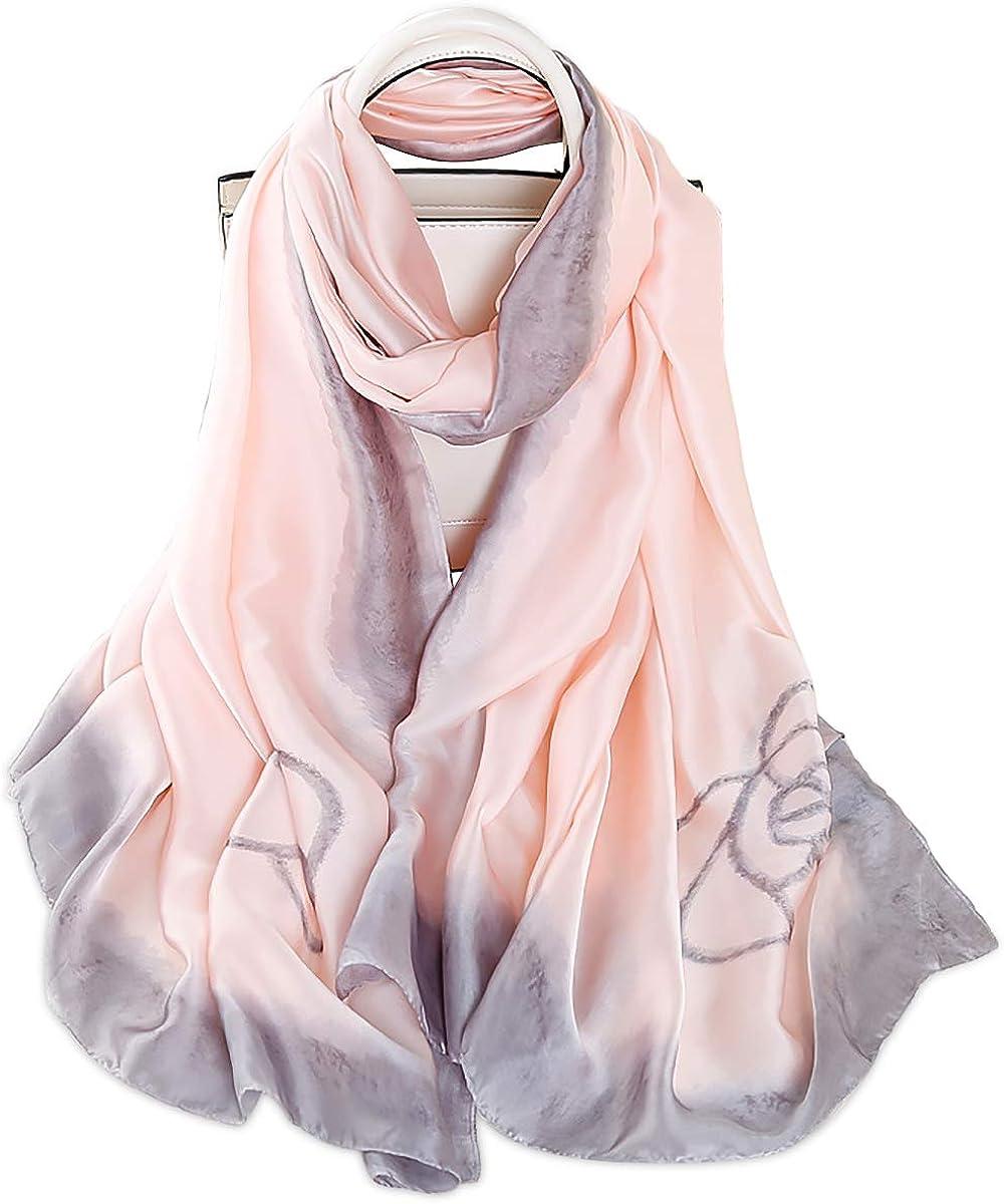 LumiSyne Bufandas De Seda Suave Para Mujer Pintura De Tinta Artística Estampado Floral Elegante Estolas Fulares Largas Chal De Playa Durante Toda La Temporada