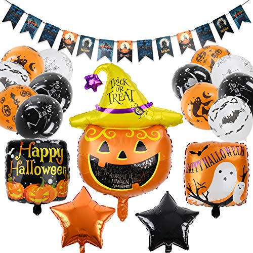balnore 34 Stück Halloween Luftballon Halloween Dekoration Ballon Set mit Kürbis Banner Latex Ballons, für Halloween Party Garten Dekoration
