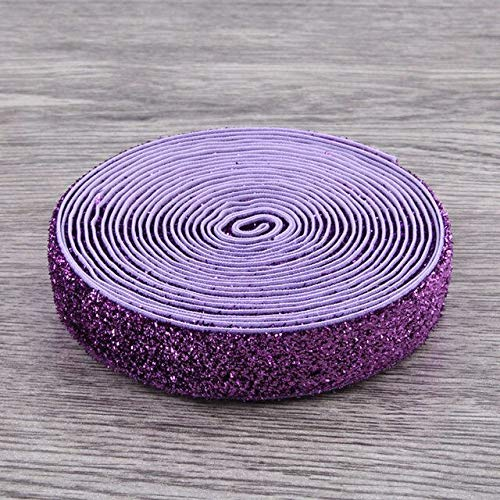 10 Yards 5/8 Inch Rainbow Glitter Fold Over Elastic Ribbon FOE for Hair Accessories Elastic Headbands Hair Ties Hairbow,Fold Over Elastic for Sewing DIY Apparel Wedding Party Gift Sewing Accessories