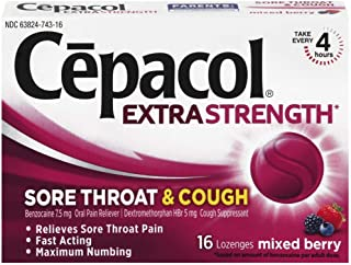 Cepacol Lozenges Max Numbing Sore Throat & Cough, Mixed Berry 16 ea (Pack of 4)