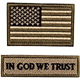 Tactical Morale Patches, USA American Flag & in God We Trust Sew On Patches for Hats Jackets Pants Backpacks, Army Green