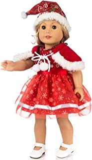 TianBo 3pc Christmas Red Color Doll Clothes Including Snowflake Hat Shawl Dresses Outsuits for 18 Inch American Girl Dolls Daughter's Gift, ZKB10 (Red-Snowflake)
